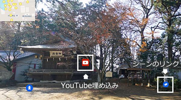 VRツアー内にYoutube動画やテキストなどの埋め込み可能